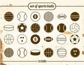 Vintage set of sports balls — Stock Vector