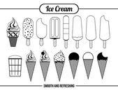 Iconos de helado — Vector de stock