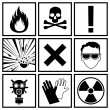 Stok Vektör: Icons warning of danger