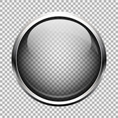 Transparent glass button — Stock Vector