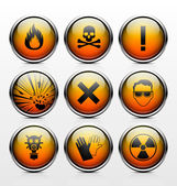 Icons with signs warning of the dangers — Stock Vector