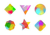 Set of colored geometric polygonal shapes. — Stock Vector