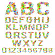 Vector set of multicolored geometric polygonal broken alphabet — Stock Vector