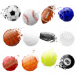 Stock Vector: Set of sport balls crashed
