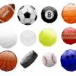 Set of abstract polygonal sports balls — Stock Vector