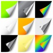 Set of colorful curled corners — Stockvectorbeeld