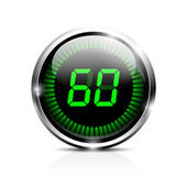 Electronic timer 60 seconds — Stock Vector
