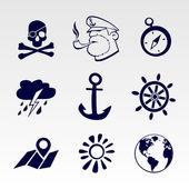 Seafaring icons set — Stock Vector
