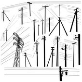 Pylon high voltage power lines silhouette set — Stock Vector