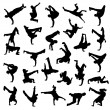 siluetas de break dance — Vector de stock