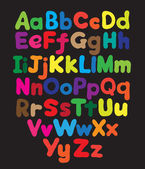 Alphabet bubble colored hand drawing — Stockvektor
