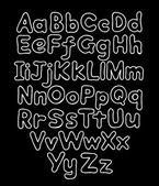 Alphabet bubble contour drawn hands — Vecteur