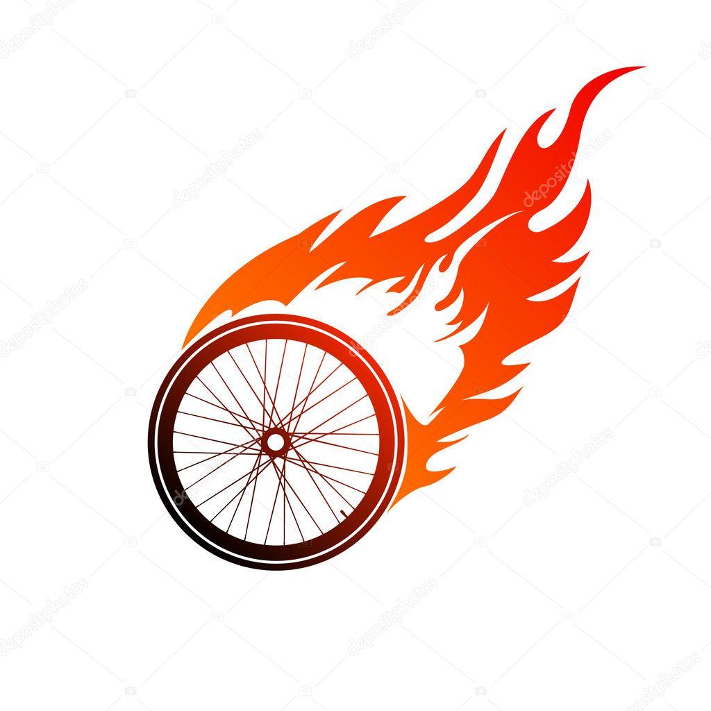 红色橙色标识燃烧的自行车车轮