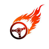 Symbol burning automobile steering — Vecteur