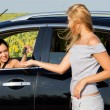 Woman talking to female driver in car — Stock Photo #11857252