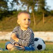 Young boy sitting with his soccer ball — Stock Photo #12899447