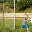 Small boy kicking a soccer ball — Stock Photo #12899502