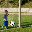 Small boy kicking a soccer ball — Stock Photo #12899527