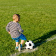 Small boy kicking a soccer ball — Stock Photo #12899570