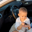 Little boy giving his mother a car key — Stock Photo