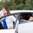 Mother waiting with son in car — Stock Photo