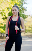 Athletic woman in park — Stock Photo