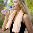 Stock Photo: Athlete drinking bottled water