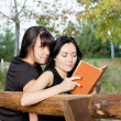 Two female friends on a bench — Stock Photo