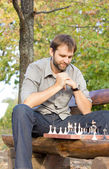 Chess player working out his strategy — Stock Photo
