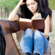 Stock Photo: Girl reading book on bench