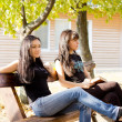 Two female friends sitting on a bench — Stock Photo