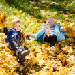 Kids frolicking in yellow autumn leaves — Stock Photo
