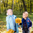 Happy kids playing in autumn woodland — Stockfoto