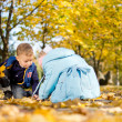 Brother and sister playing in fall leaves — Stock Photo