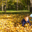 Stock Photo: Children playing in fallen autumn leaves