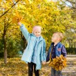 Young Children Holding Leaves in Autumn Woods — Foto de Stock