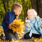 Young Children Gathering Leaves in Autumn Splendor — Stock Photo