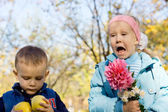 Young Children in an Autumn Woodland — Stock Photo