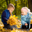 Brother and sister in autumn woodland — Stock Photo
