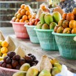 Baskets of fresh fruit for sale — Stock Photo