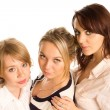 Three young woman in a row — Stock Photo