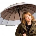 bir şemsiye ile çekici genç kadın — Stok fotoğraf