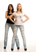 Two sexy young women with attitude — Stock Photo