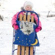 Merry little girl holding her winter sled — Stock Photo