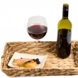 Stock Photo: Salmon and wine on tray