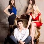 Four women and man — Stock Photo