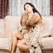 Stock Photo: Glamorous womin fur coat