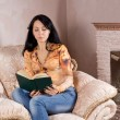 Woman reading in front of the fire — Stock Photo #22245789