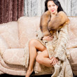 Glamorous woman in a fur coat — Photo