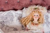 Face of a beautiful vintage doll — Stock Photo